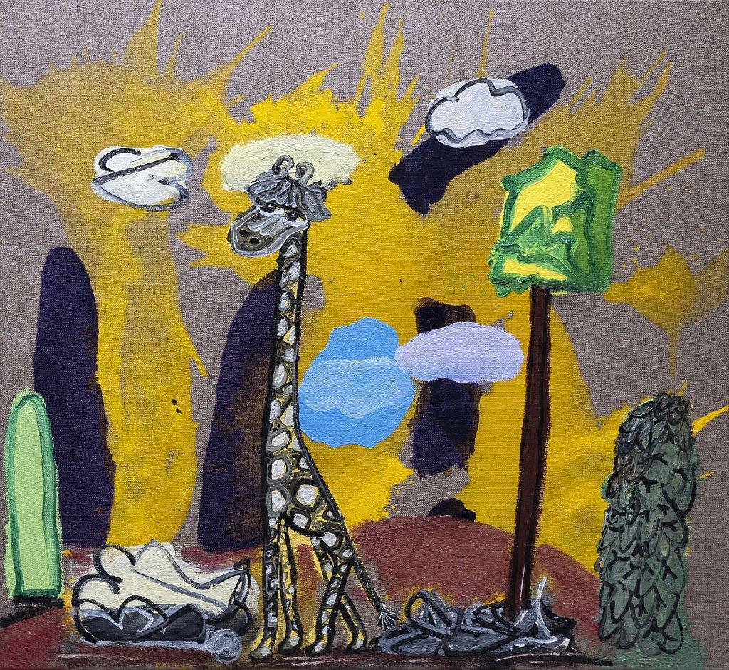 Giraffe and Landscape on a Pole
