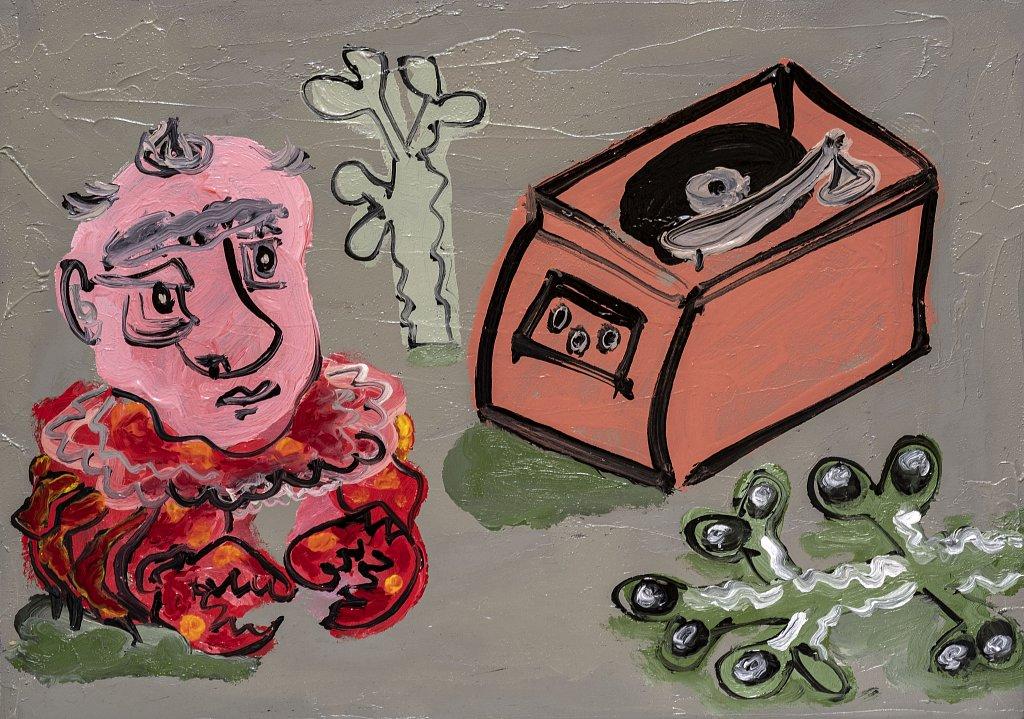 Crab listening to Vinyl